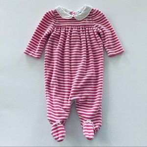 Ralph Lauren Baby Girl Pink Velour Footie Coverall